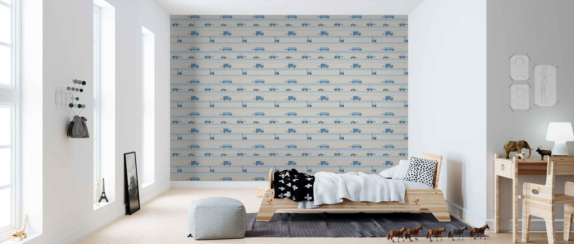 Brum Brum - Blue - Behang - Kinderkamer