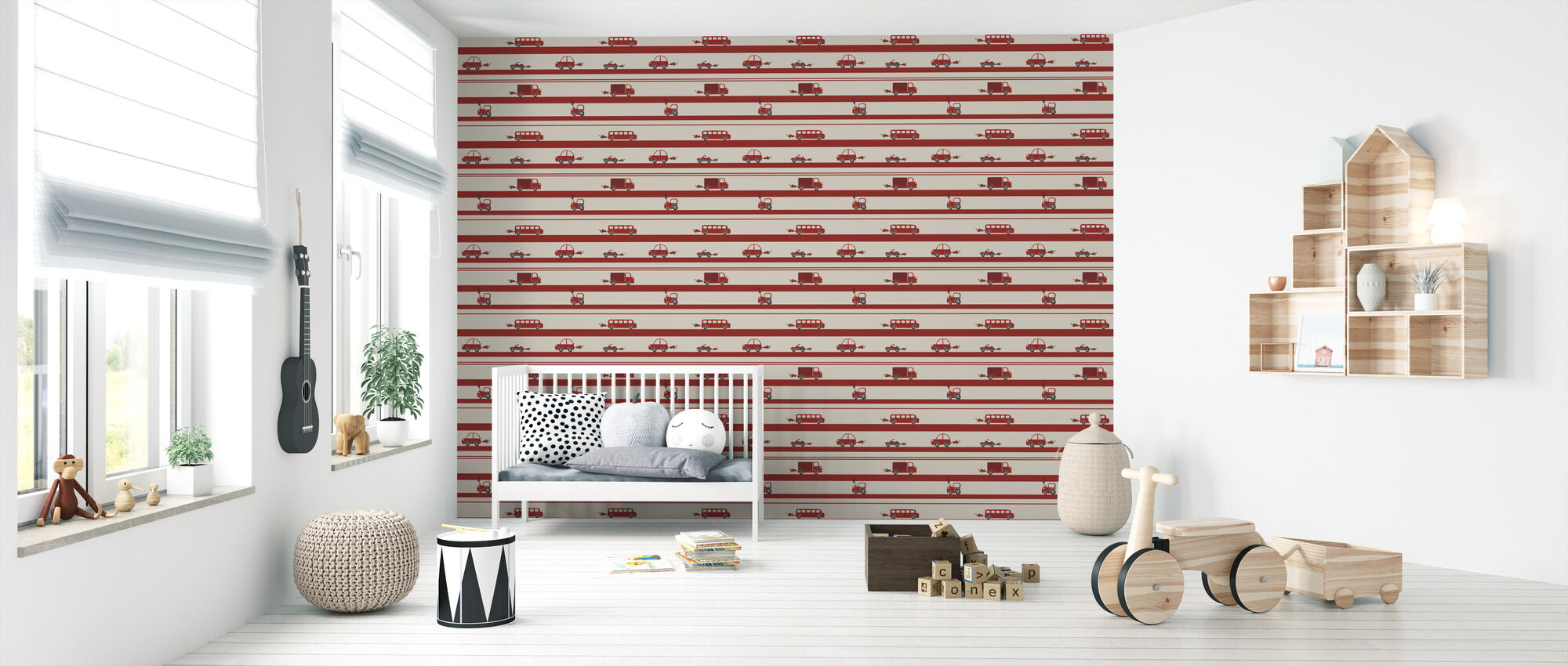 Brum Brum - Red - Wallpaper - Nursery