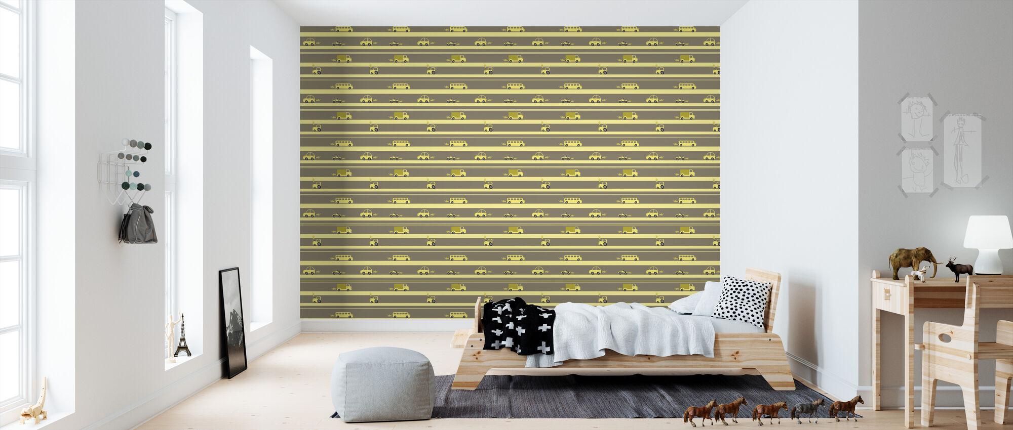 Brum Brum - Yellow - Wallpaper - Kids Room