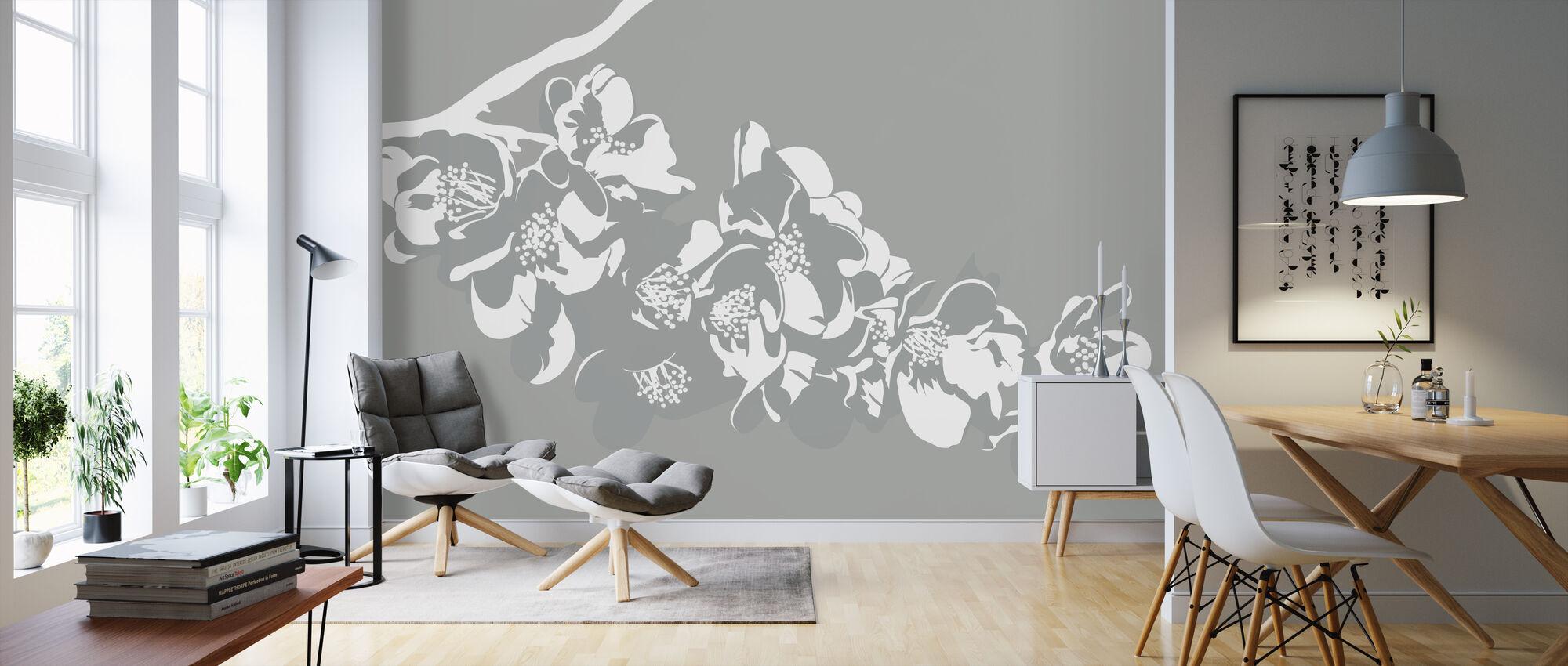Flora - Ljusgrå - Tapet - Vardagsrum