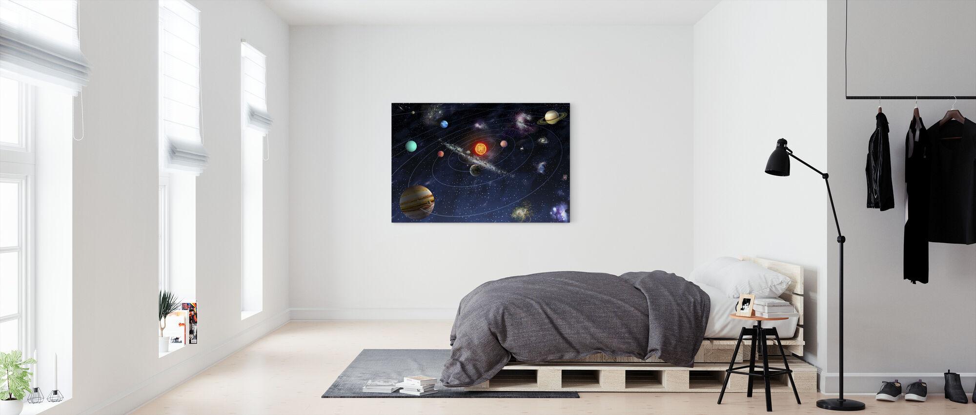 Solsystem - Billede på lærred - Soveværelse