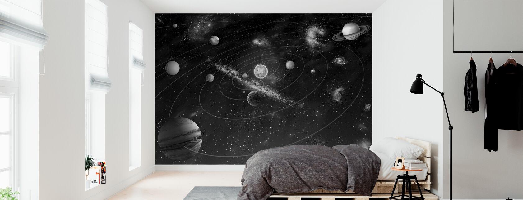 Solar System - b/w - Wallpaper - Bedroom