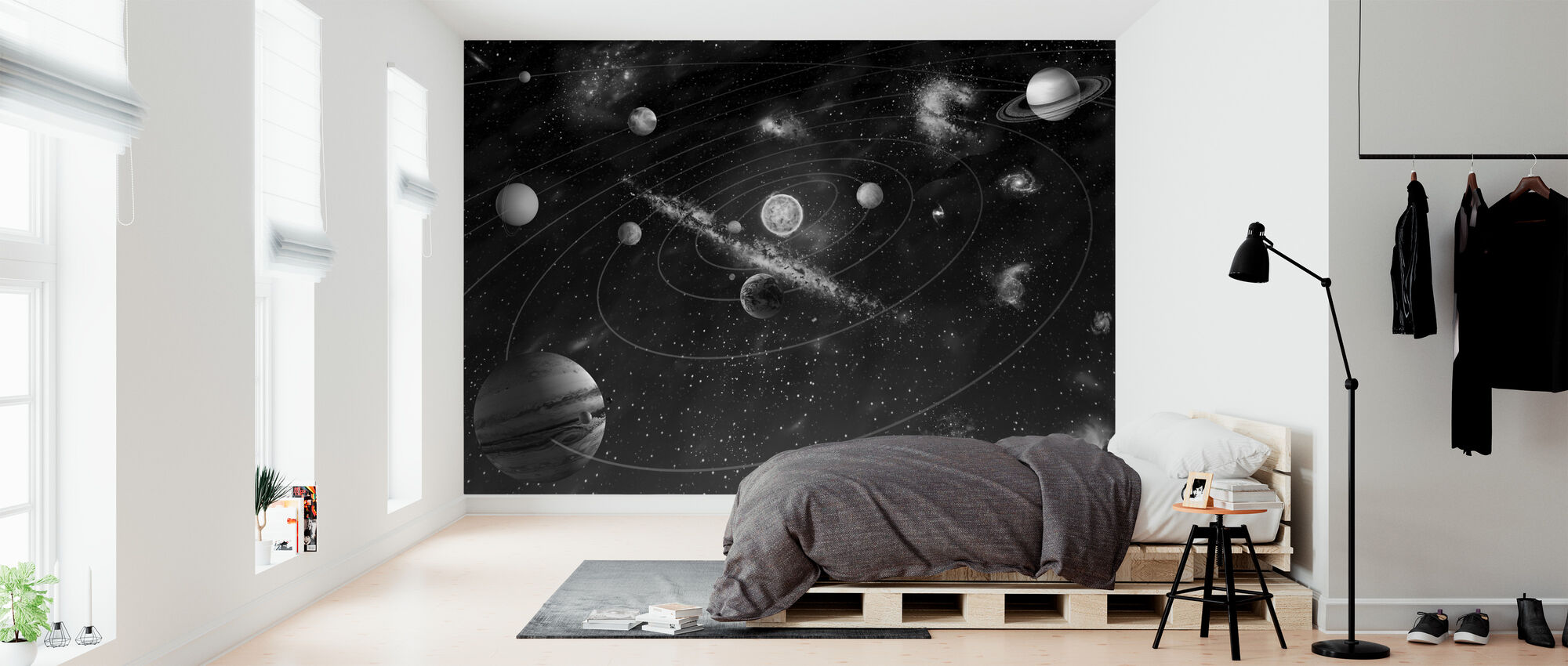 Solar System - b/w - Wallpaper - Bedroom