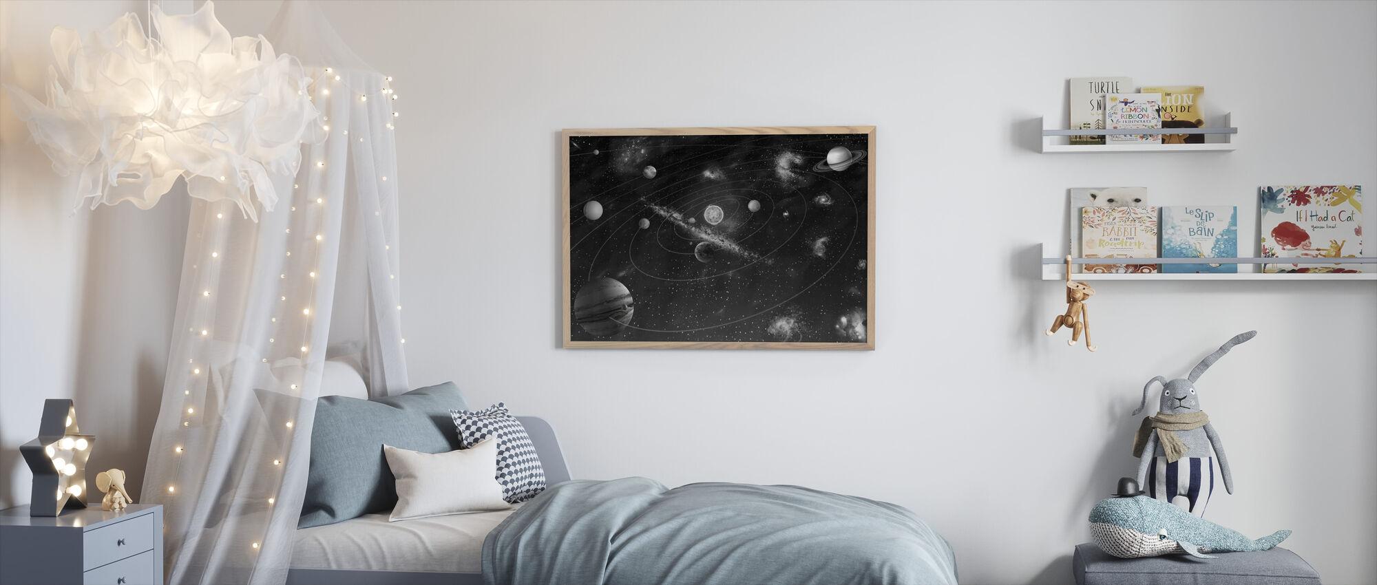 Zonnestelsel - z/w - Ingelijste print - Kinderkamer