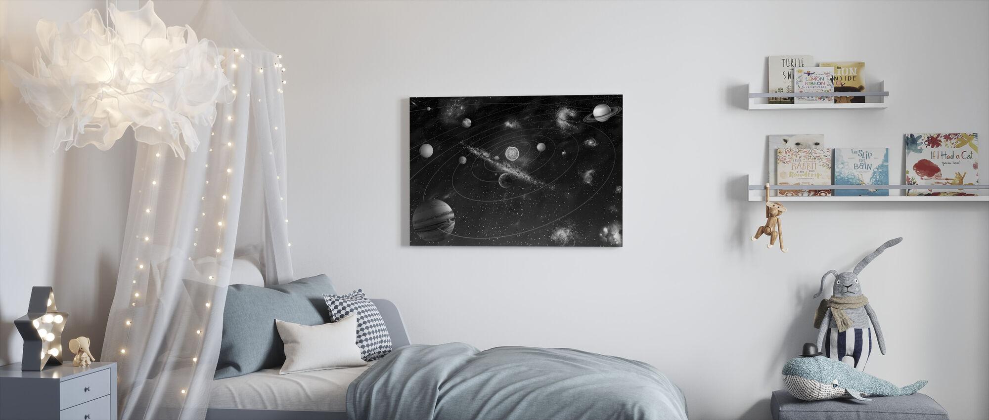 Solar System - b/w - Canvas print - Kids Room