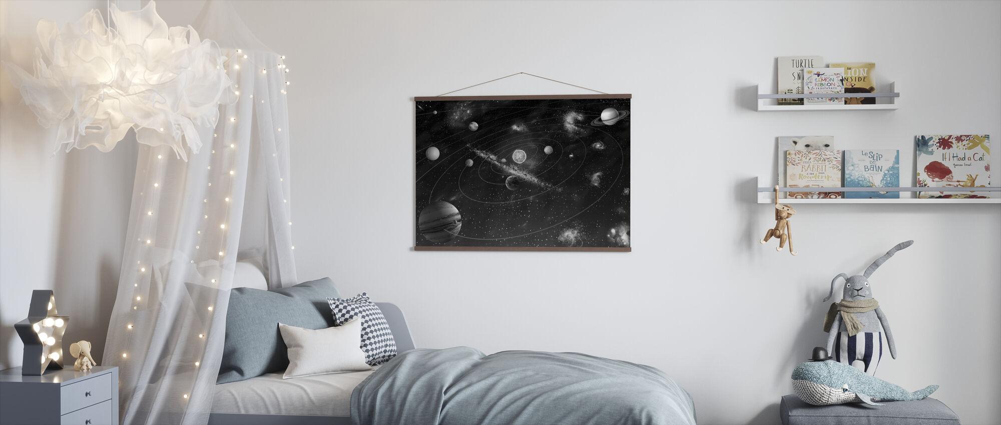 Solsystem - b/w - Plakat - Barnerom