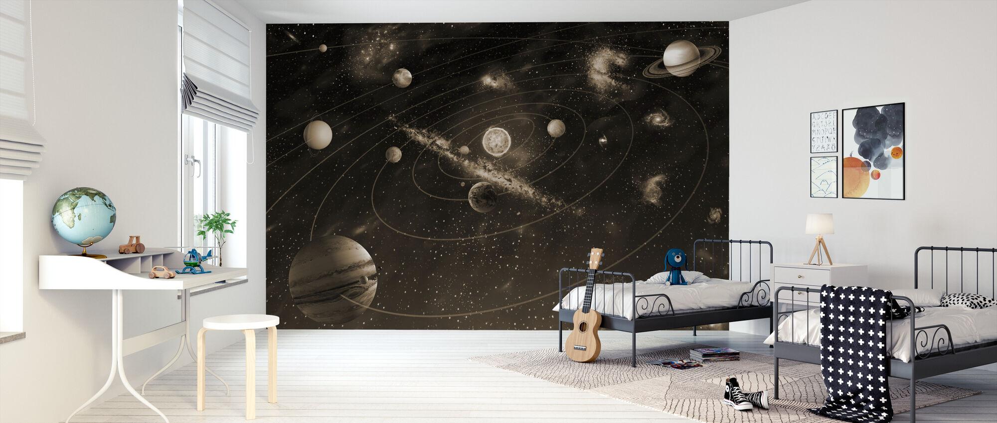 Solar System - Sepia - Wallpaper - Kids Room