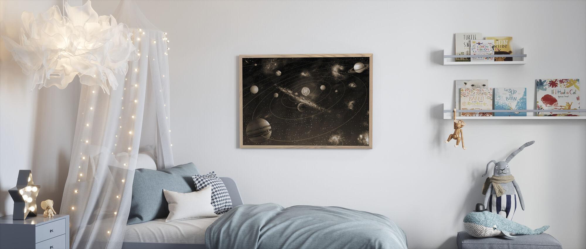Zonnestelsel - Sepia - Ingelijste print - Kinderkamer