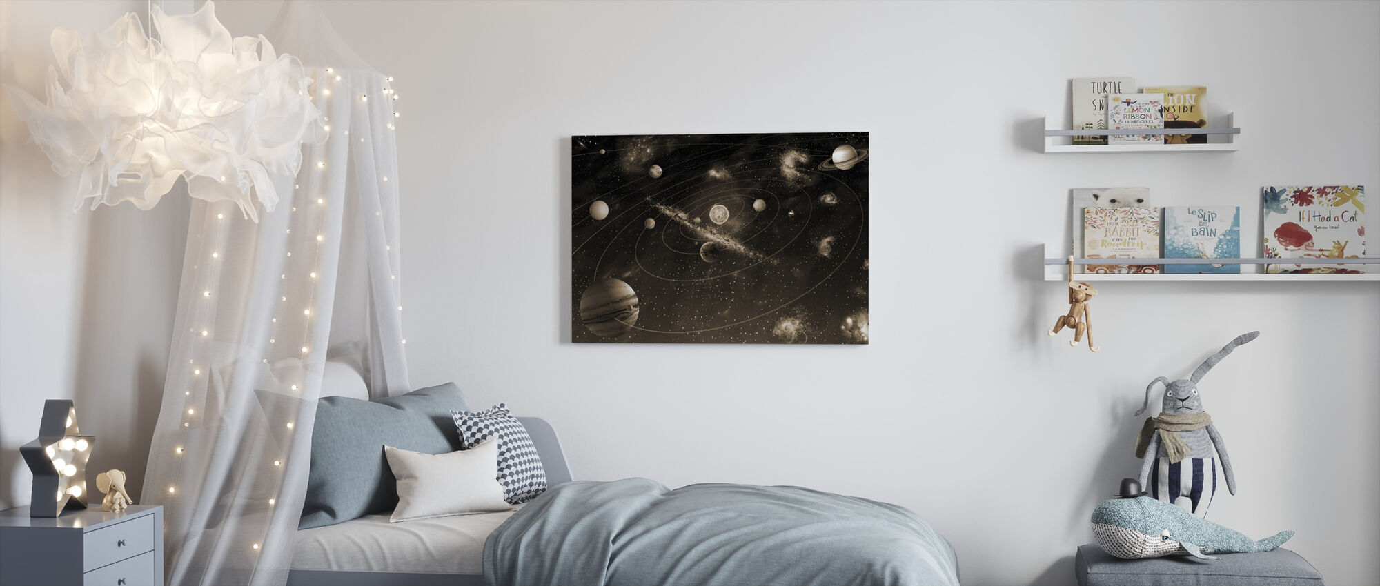 Solar System - Sepia - Canvas print - Kids Room