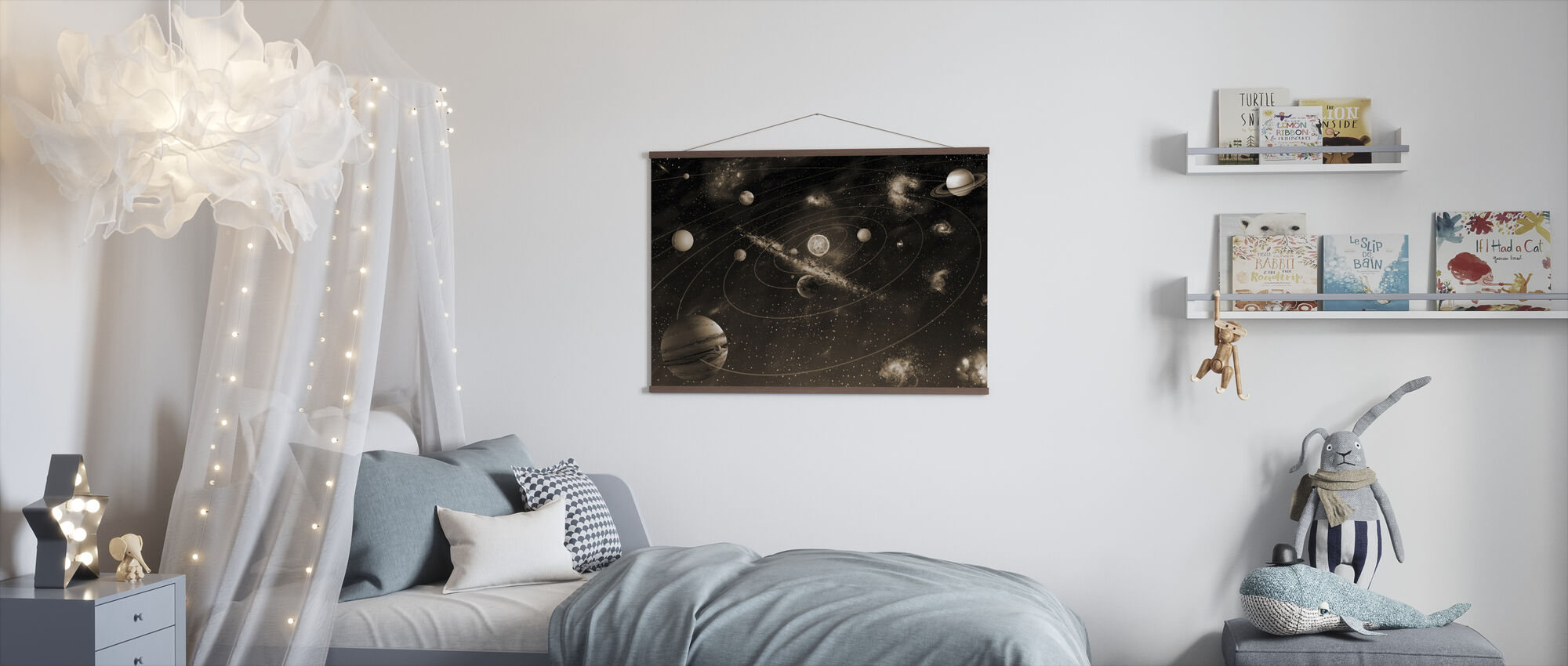 Solsystem - Sepia - Plakat - Barnerom