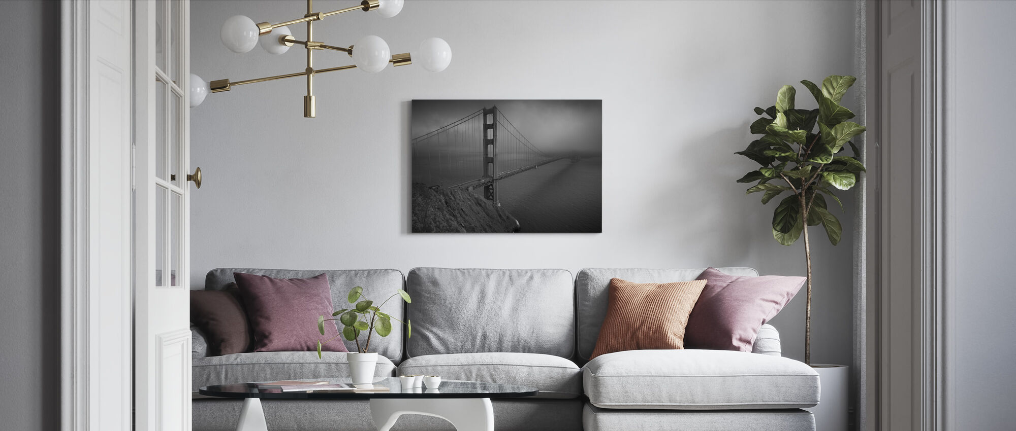 Golden Gate - b/w - Canvas print - Living Room