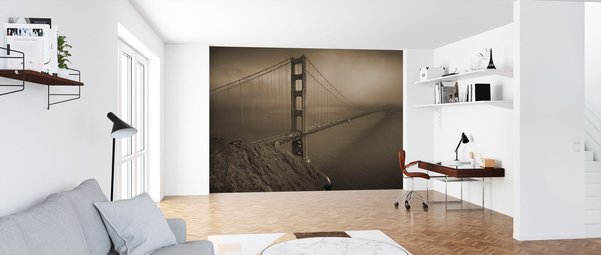 Golden Gate - Sepia - Wallpaper - Office