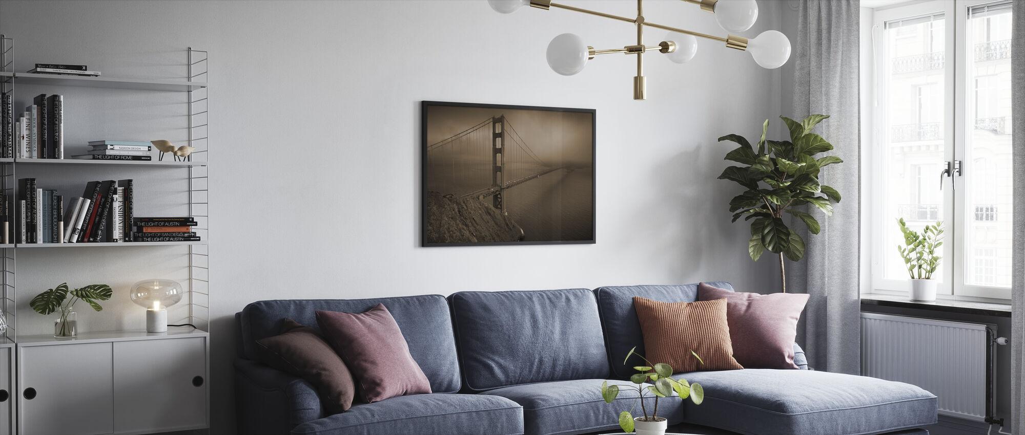 Kultainen portti - Sepia - Kehystetty kuva - Olohuone
