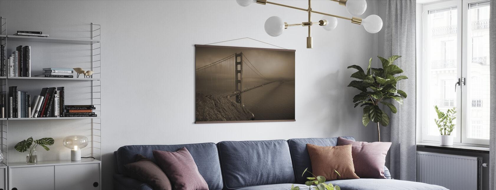 Golden Gate - Sepia - Poster - Living Room