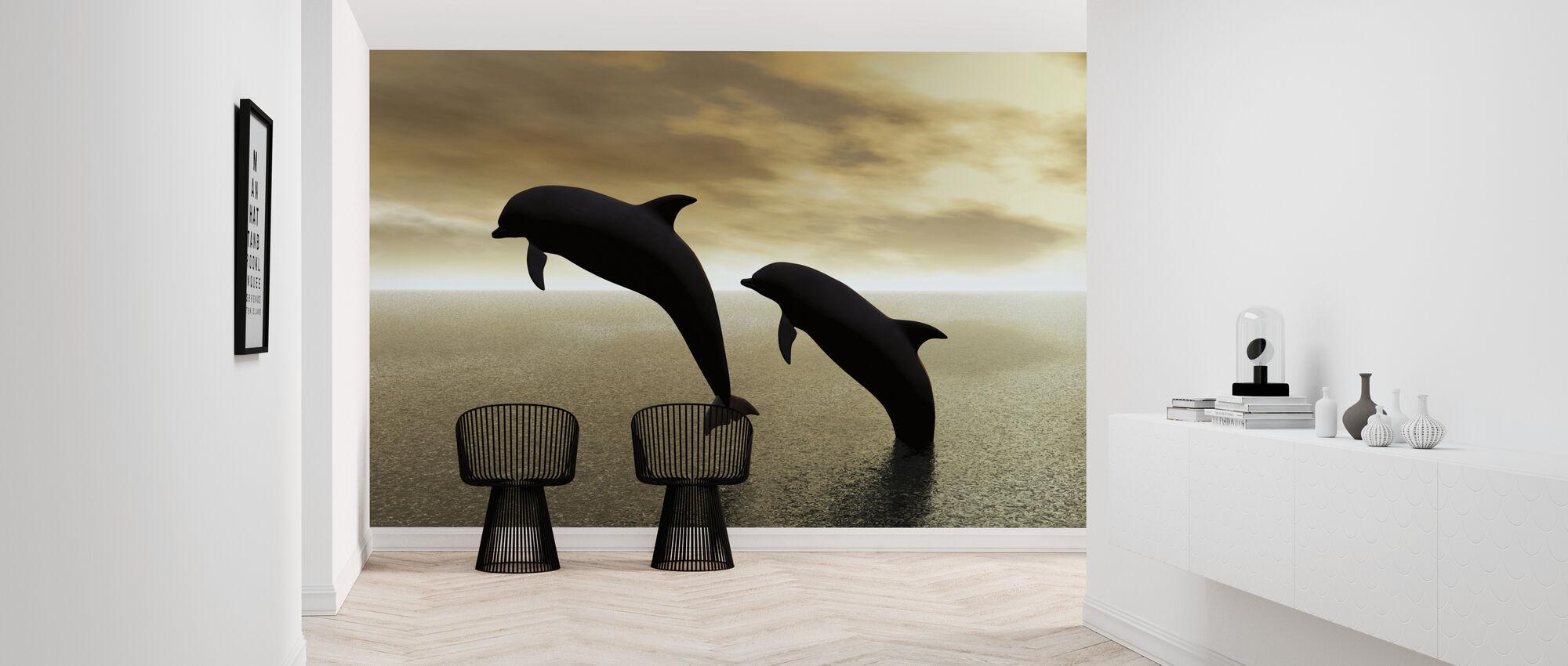Delfin Silhuetter - Tapet - Gang