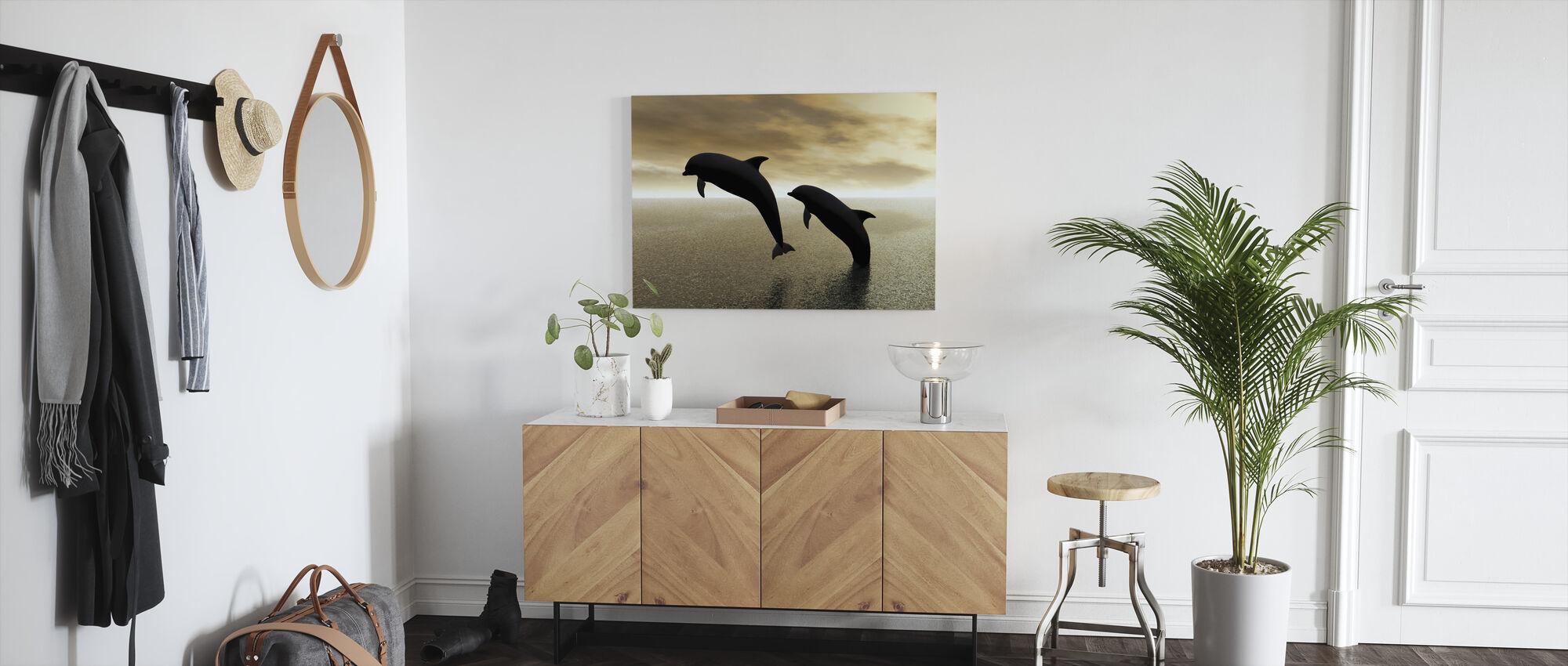 Dolfijn Silhouetten - Canvas print - Gang