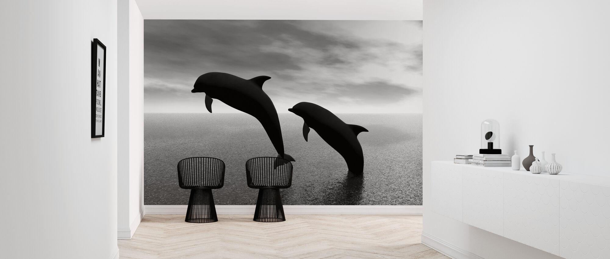 Dolphin Silhouettes - b/w - Wallpaper - Hallway