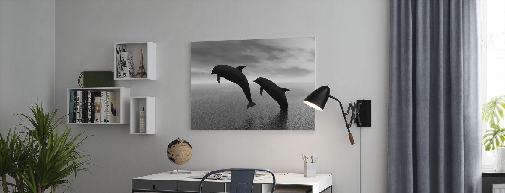 Delfinsilhuetter - b/w - Lerretsbilde - Kontor