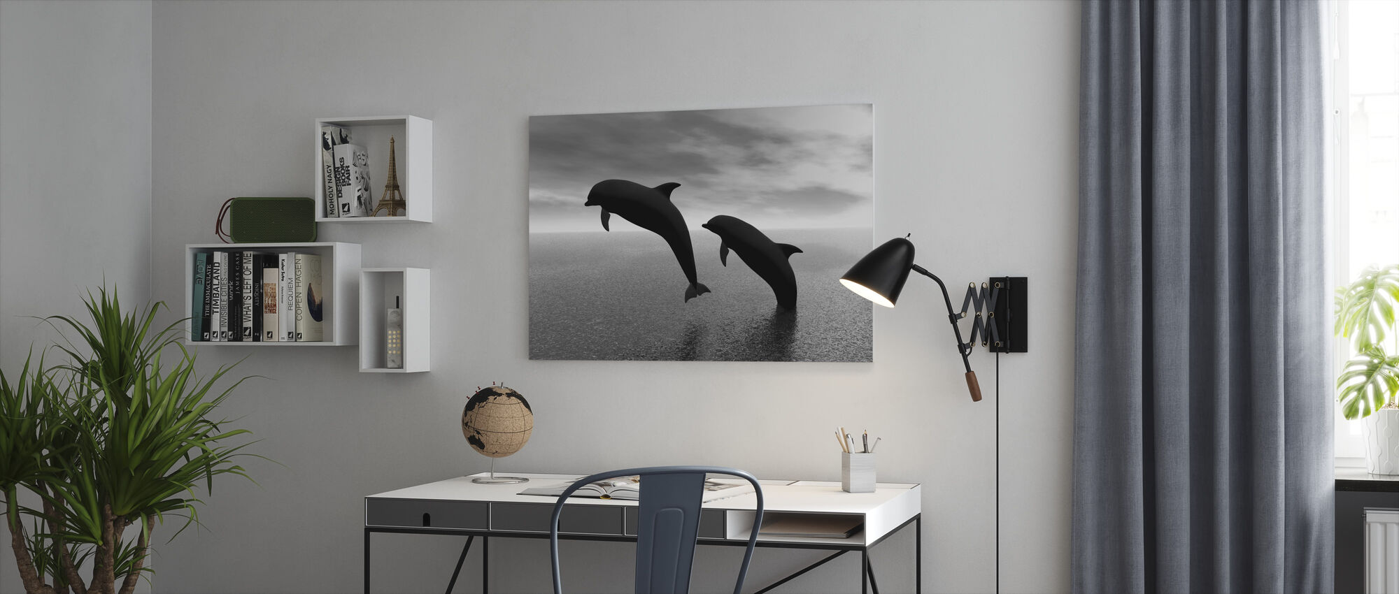 Dolphin Silhouettes - b/w - Canvas print - Office