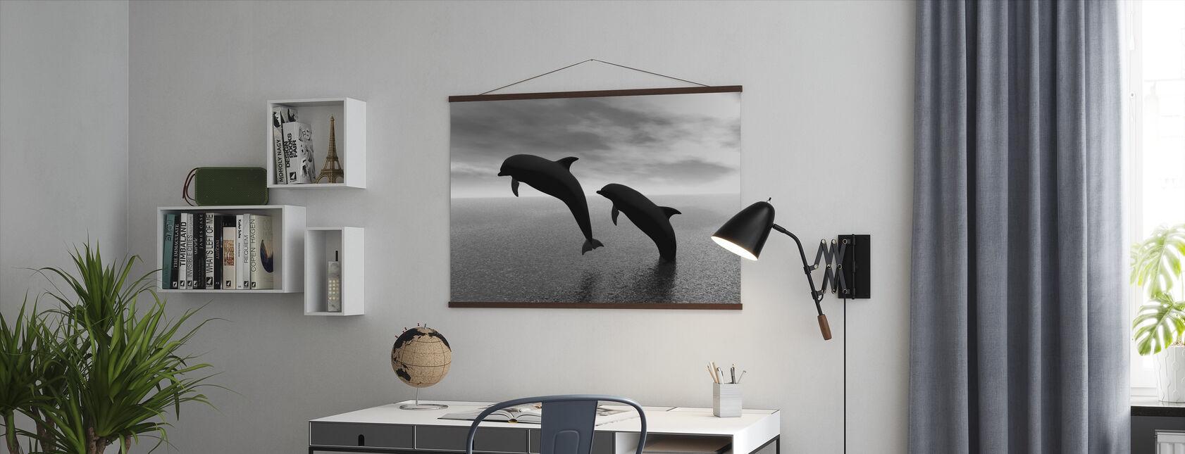 Dolfijn Silhouetten - z/w - Poster - Kantoor