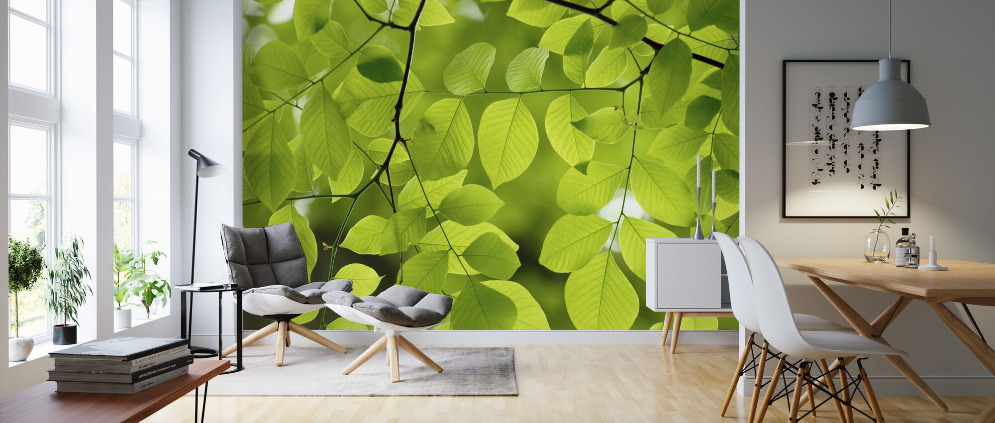 Yellow Wood Green Leaves - Wallpaper - Living Room