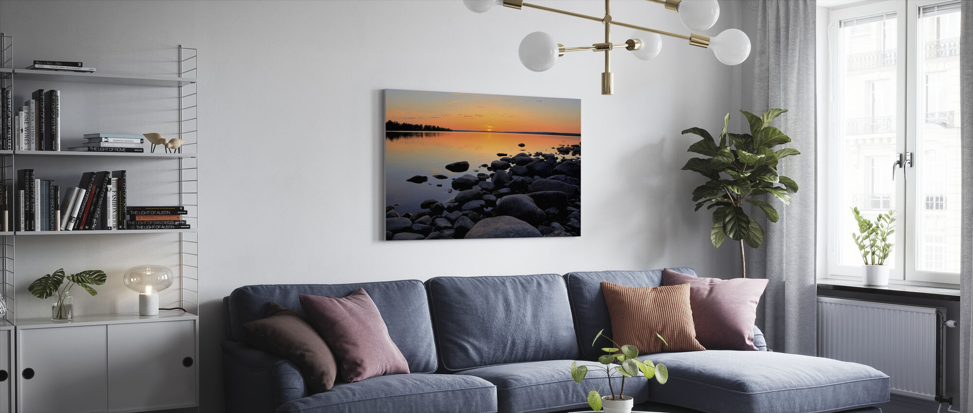 Norra Sverige Midnattssol - Canvastavla - Vardagsrum