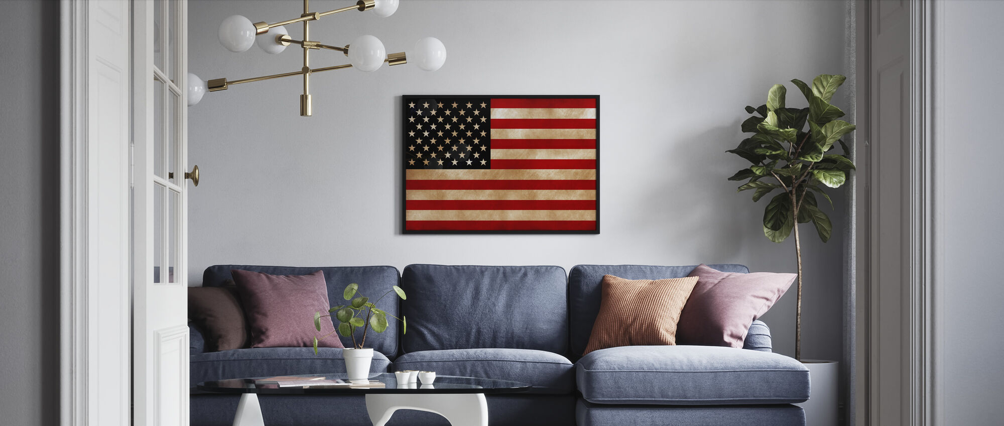 USA lippu - Kehystetty kuva - Olohuone