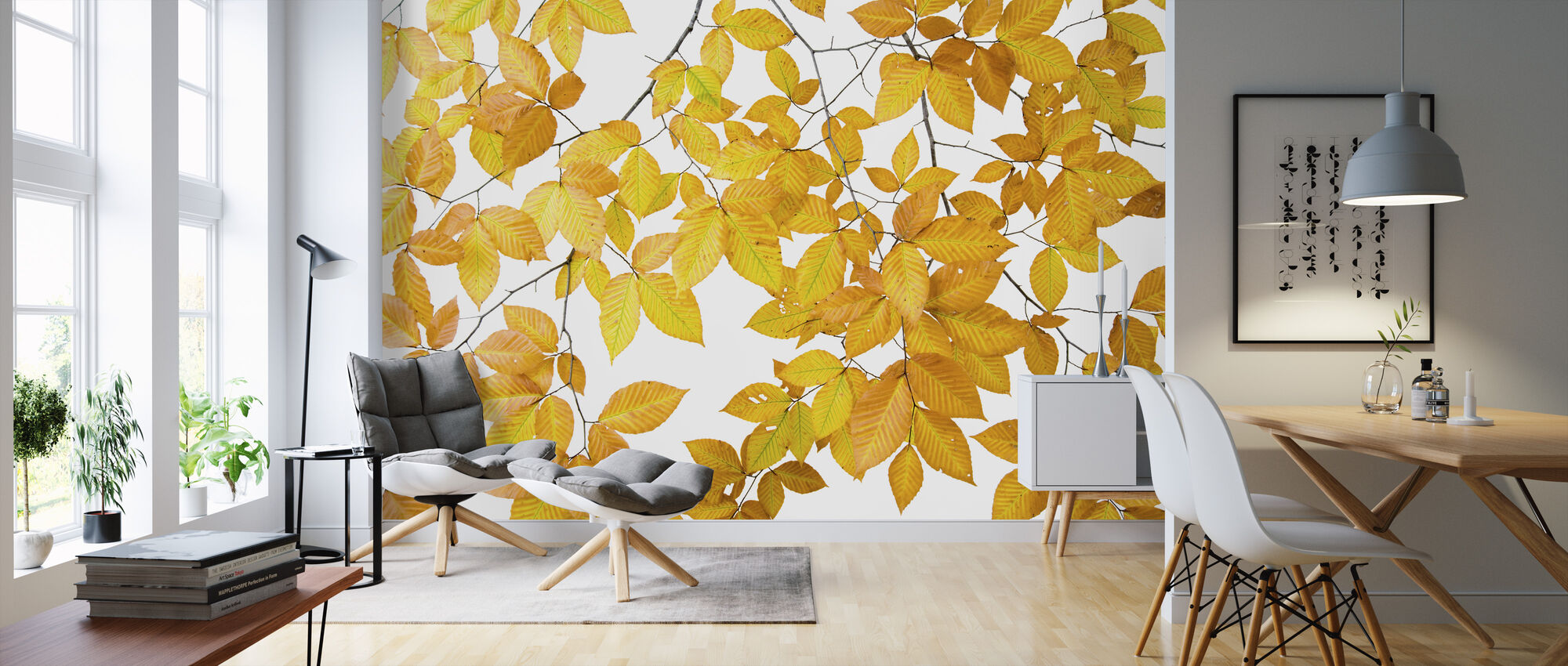 Yellow Leaves on White Background - Wallpaper - Living Room