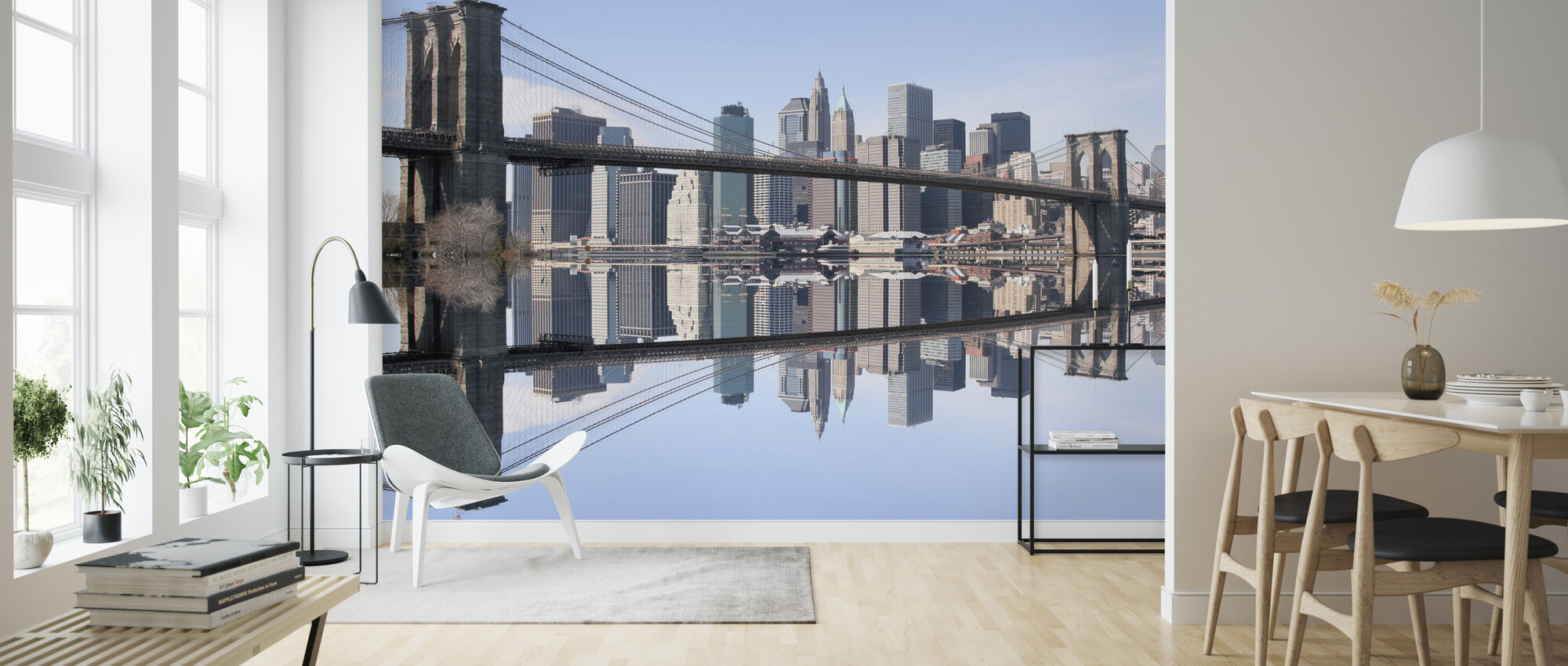 Brooklyn Bridge Clear Blue Day - Wallpaper - Living Room