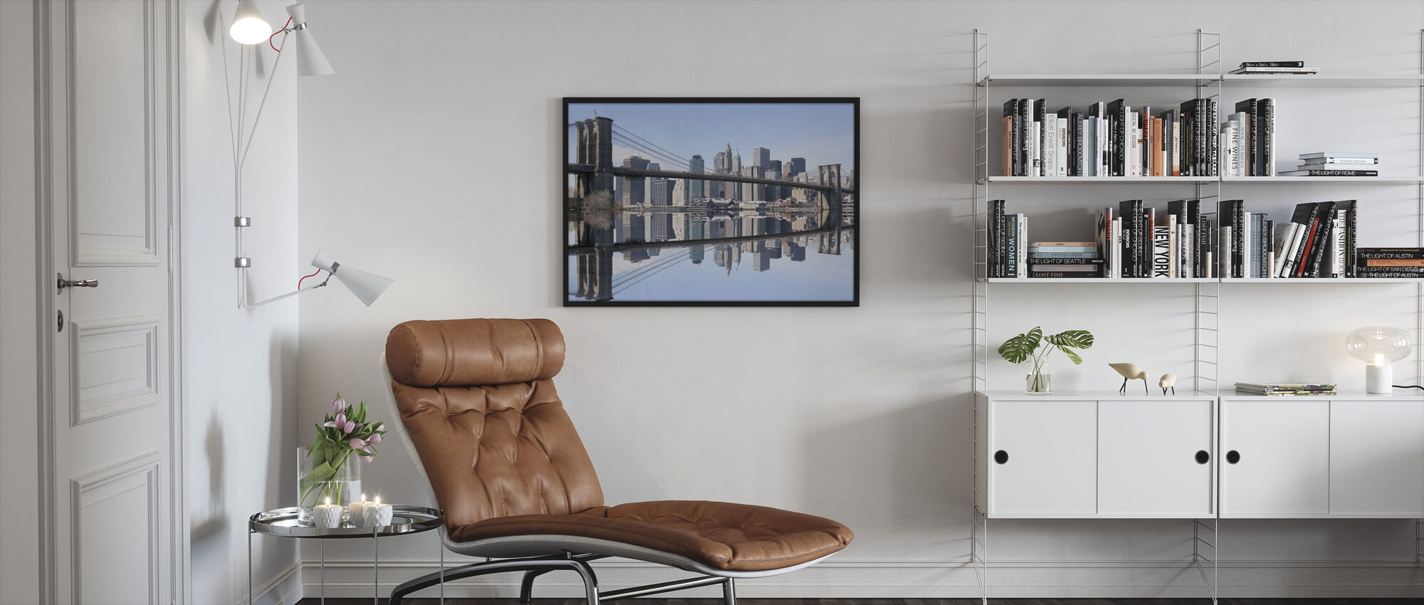 Brooklyn Bridge Clear Blue Day - Framed print - Living Room