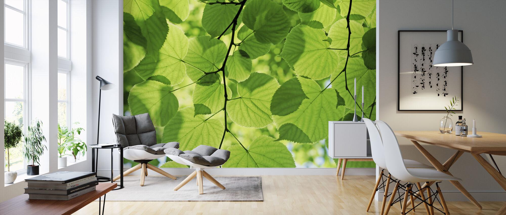 Gloeiende bladeren - Behang - Woonkamer