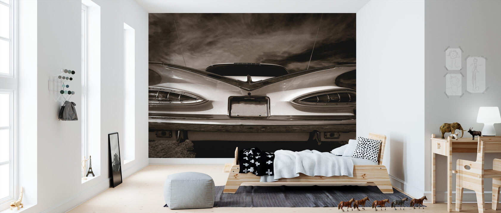 rear vintage car decorate with a wall mural photowall. Black Bedroom Furniture Sets. Home Design Ideas