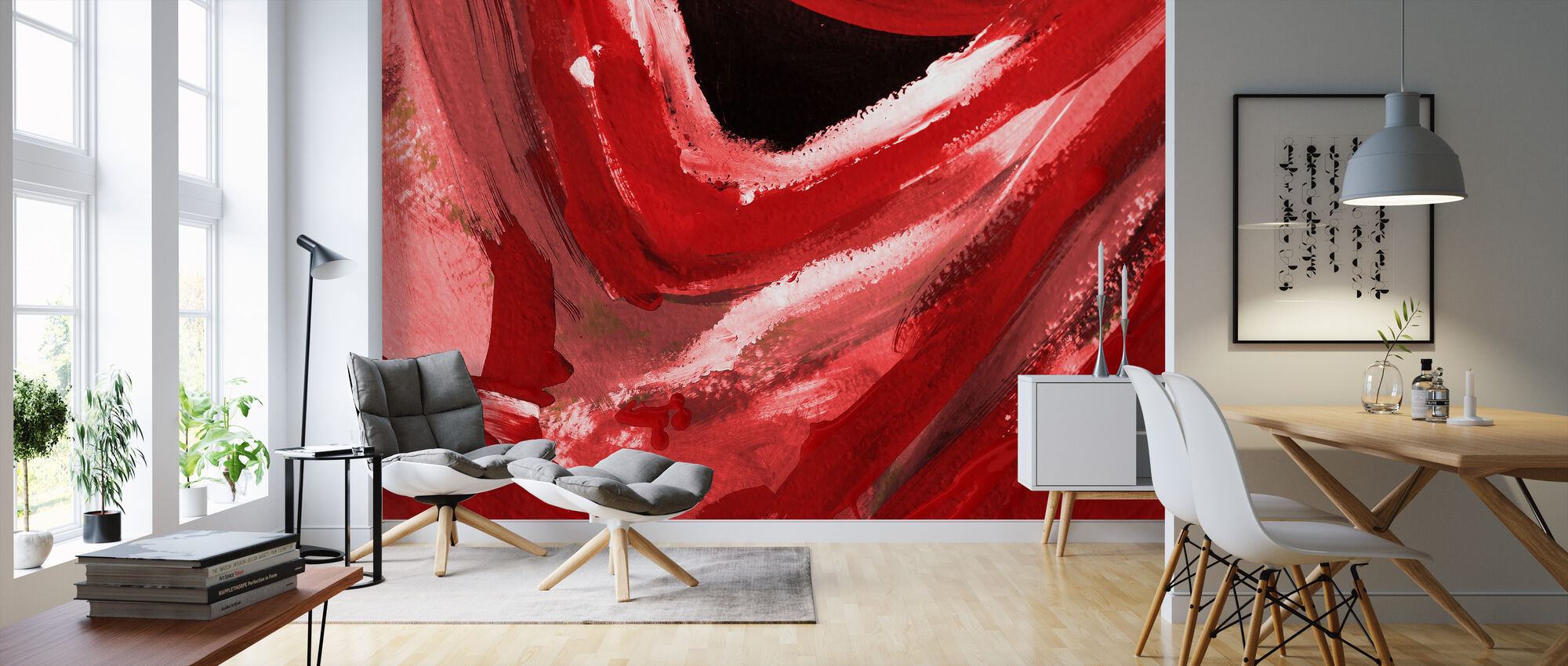 Abstract Red - Wallpaper - Living Room