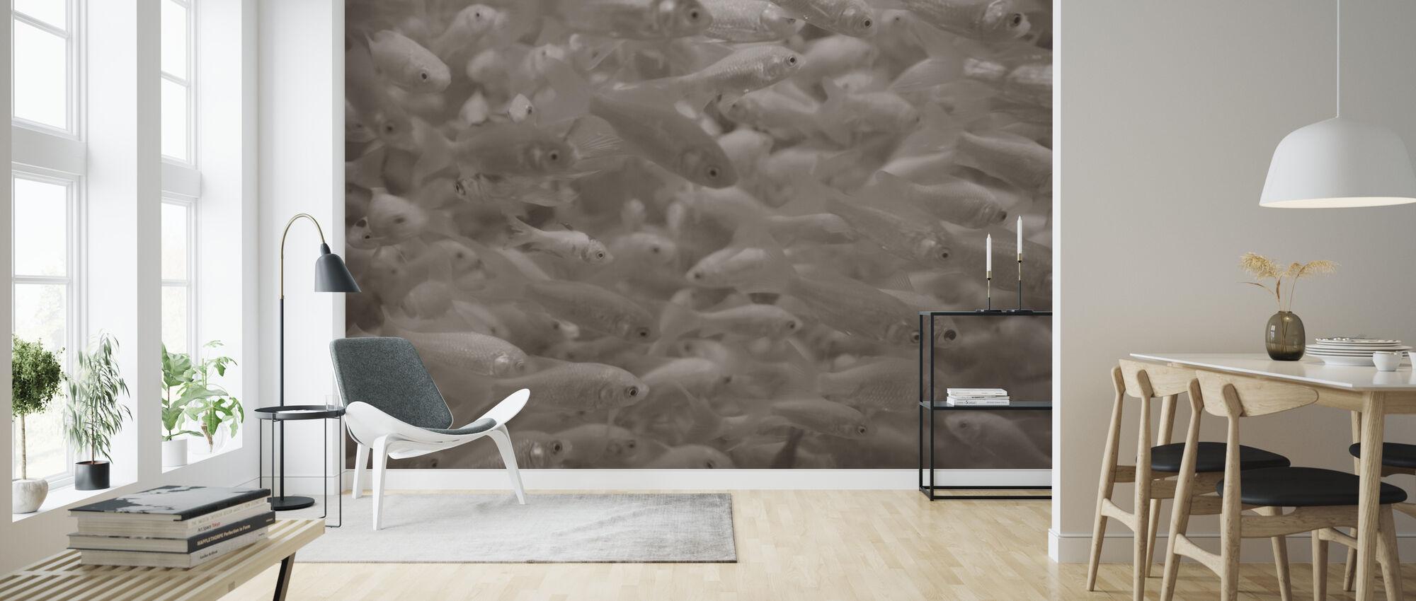 Goldfish - Sepia - Wallpaper - Living Room