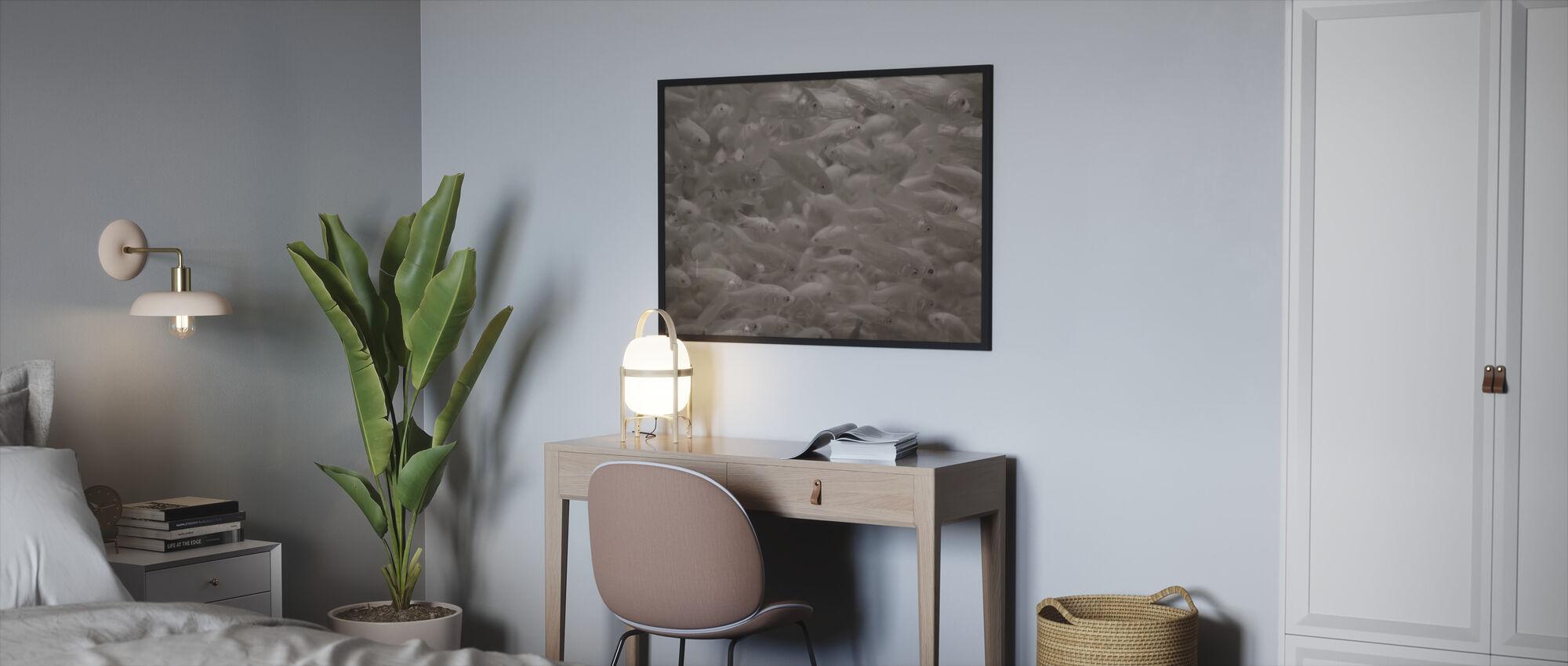 Kultakala - Sepia - Kehystetty kuva - Makuuhuone