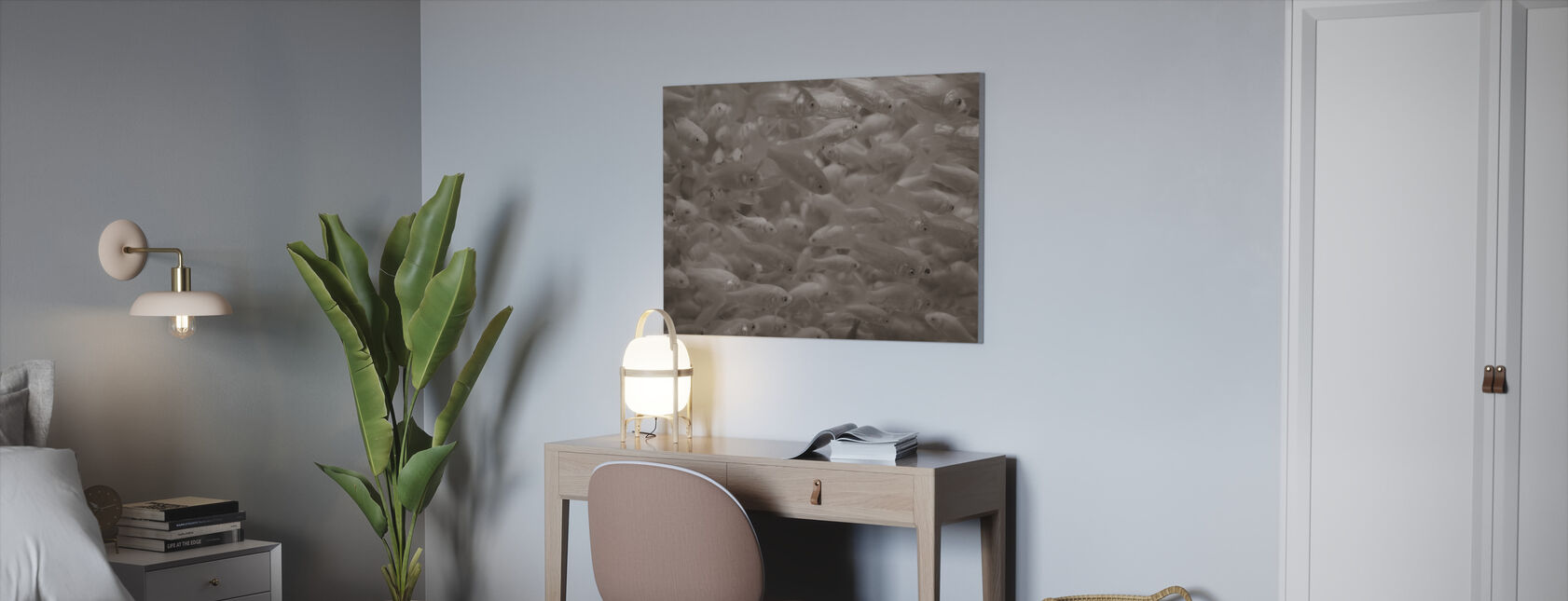 Goldfish - Sepia - Canvas print - Office