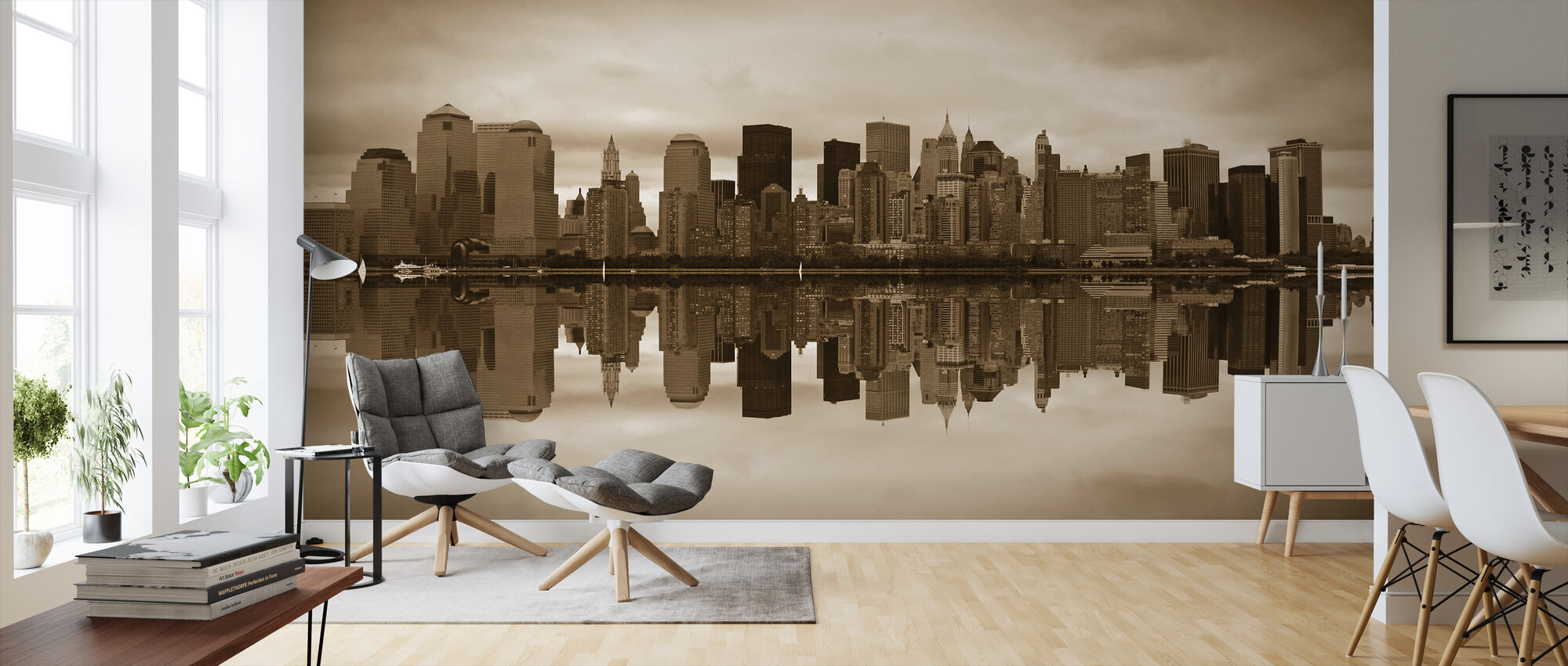 Manhattan - Sepia - Wallpaper - Living Room