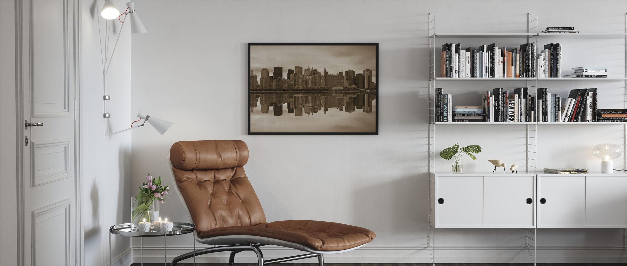 Manhattan - Sepia - Kehystetty kuva - Olohuone