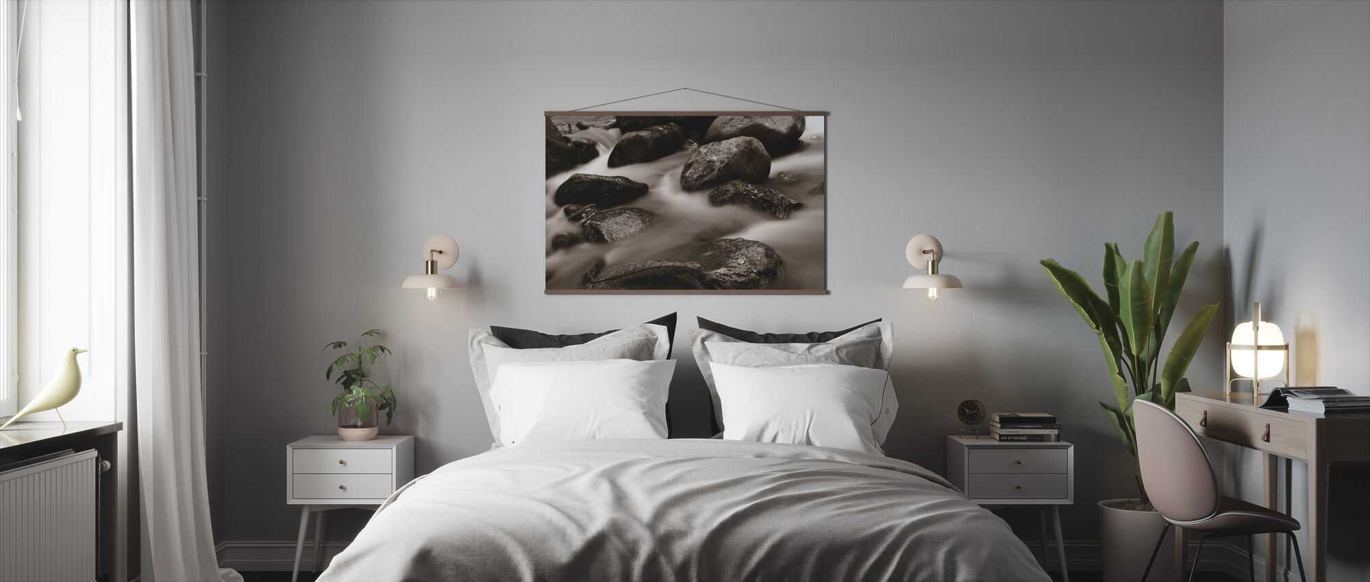 Waterfall Close Up - Sepia - Poster - Bedroom