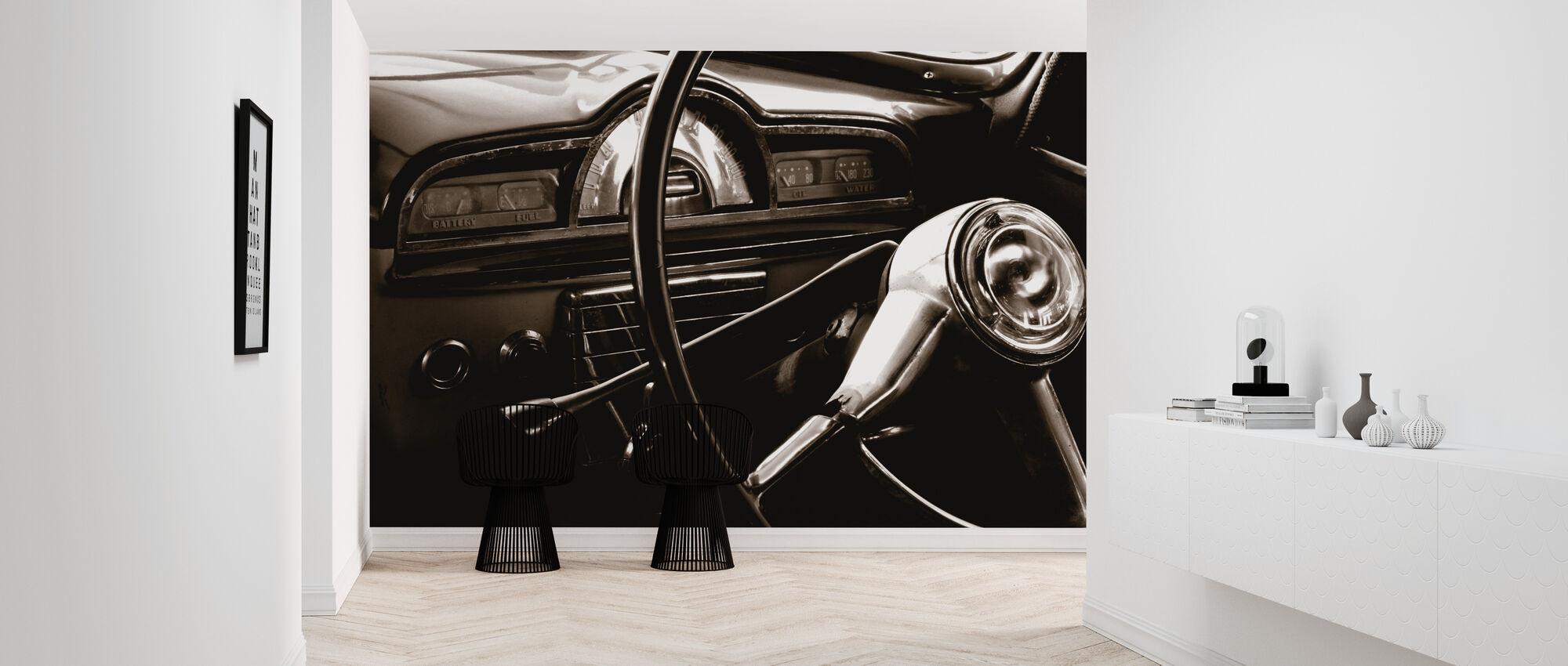 Vintage Auto - Sepia - Behang - Gang