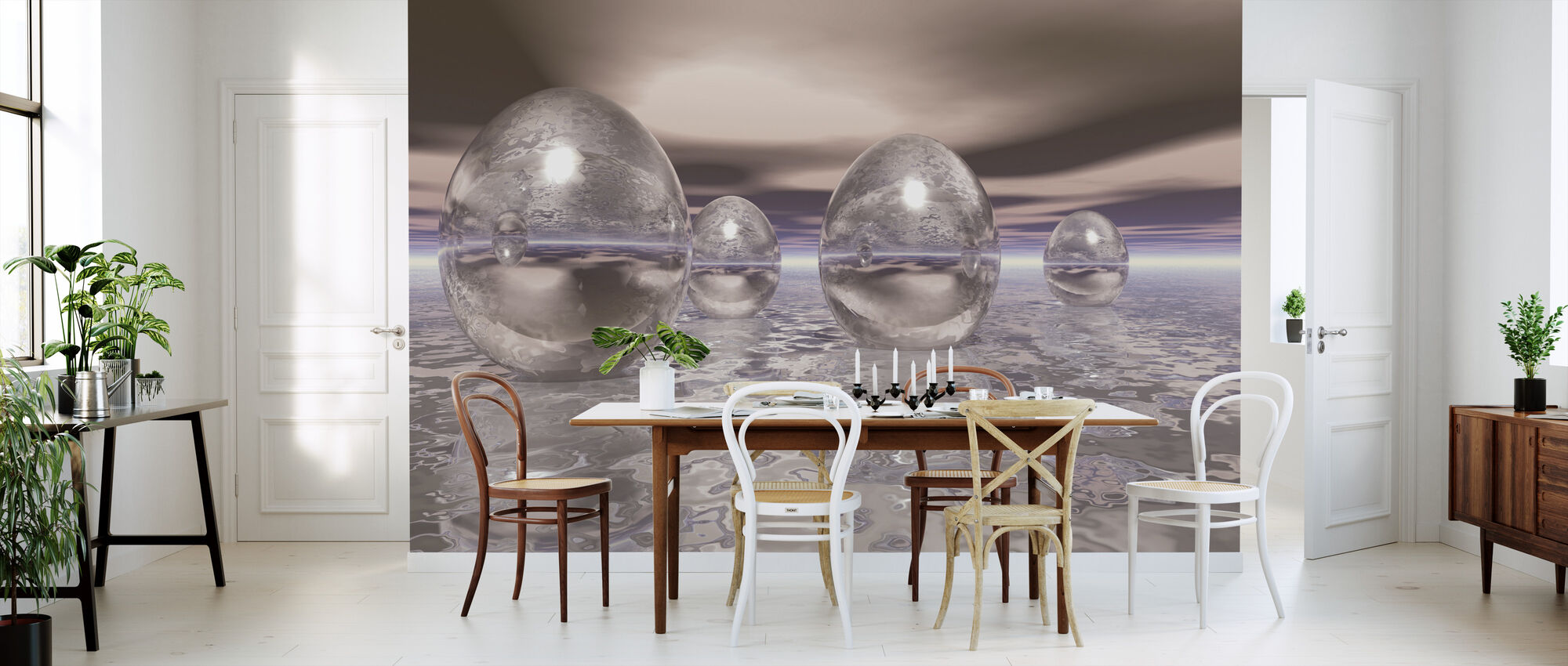3D Floating Eggs - Wallpaper - Kitchen