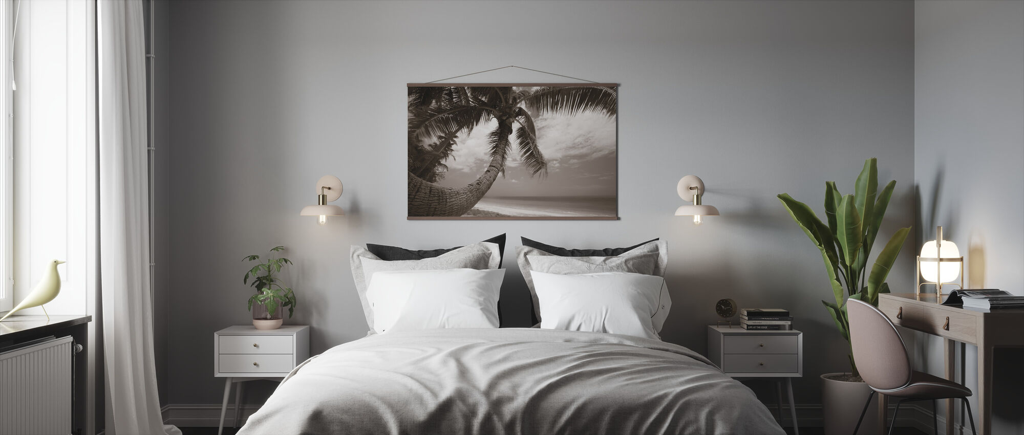 Round Shape Palm - Sepia - Poster - Bedroom