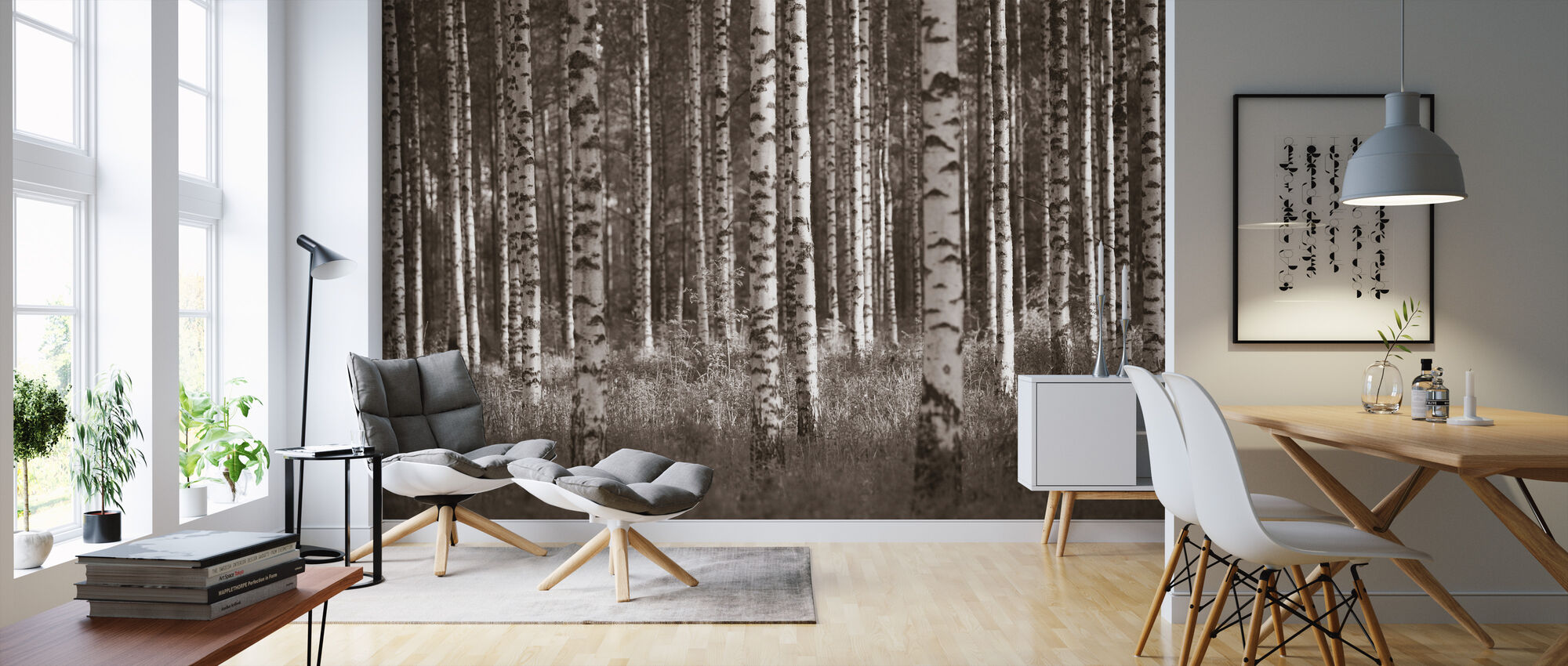 Birch Forest - Sepia - Wallpaper - Living Room