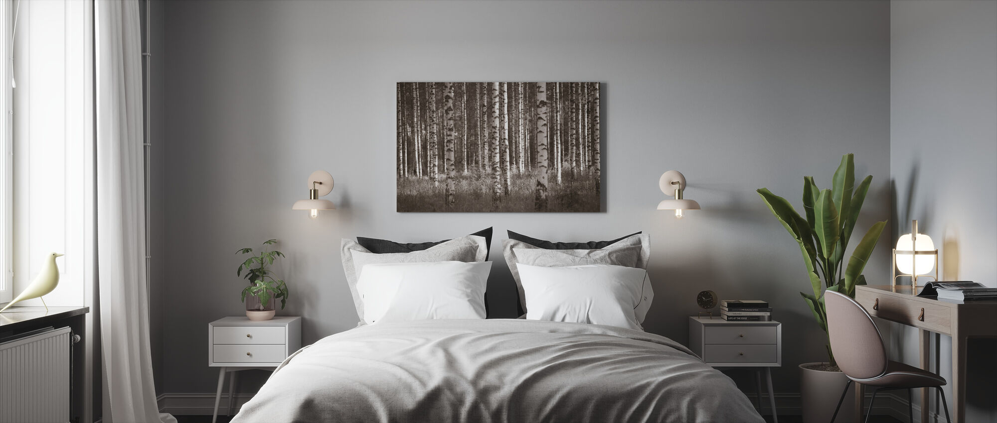 Birch Forest - Sepia - Canvas print - Bedroom
