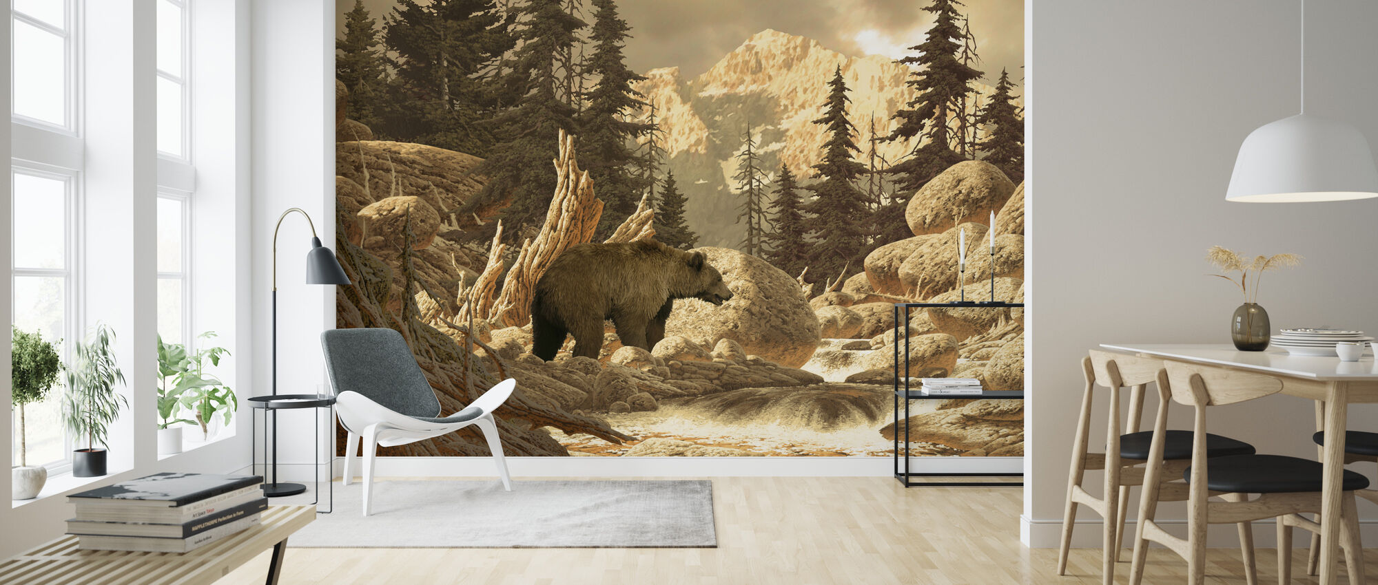 Grizzly Bear in the Tetons - Wallpaper - Living Room