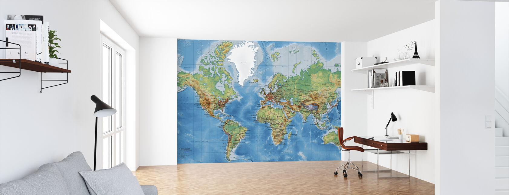 Världskarta - Med Vägar - Tapet - Kontor
