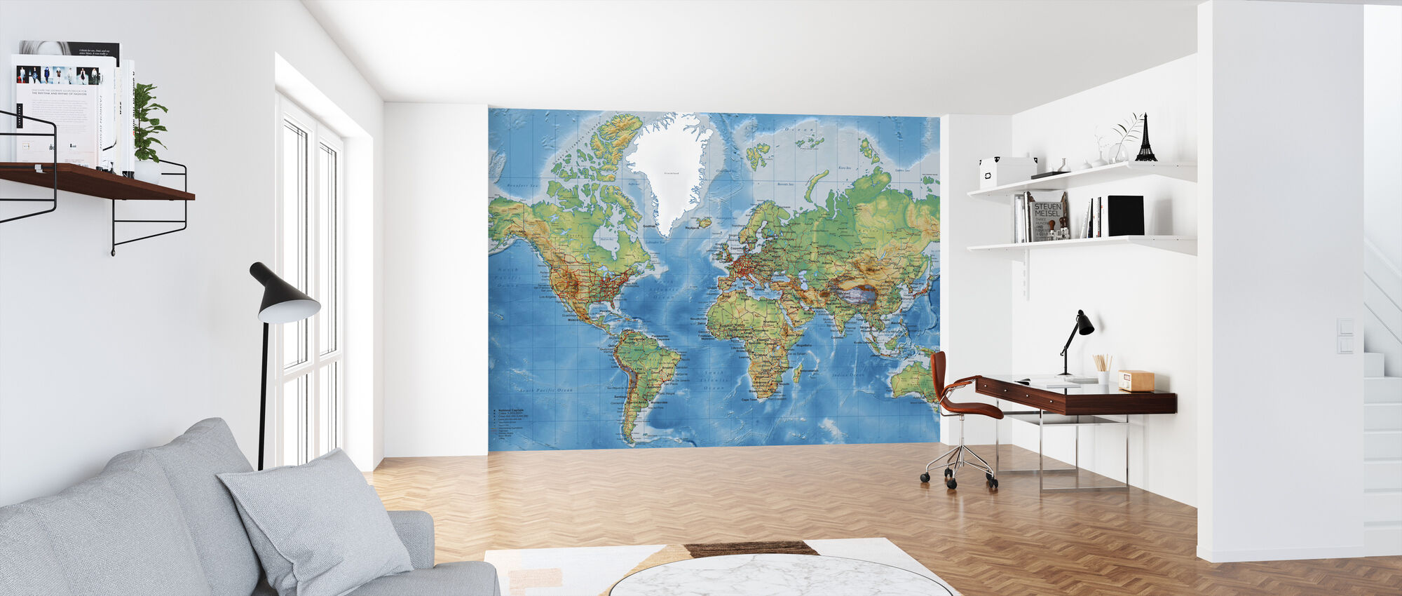 World Map - With Roads - Wallpaper - Office