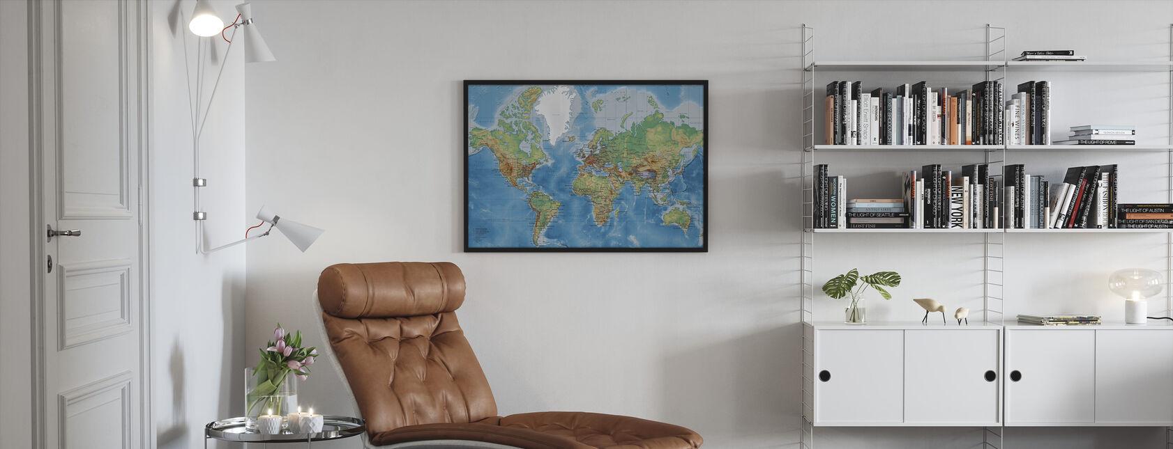 Weltkarte - Mit Straßen - Gerahmtes bild - Wohnzimmer