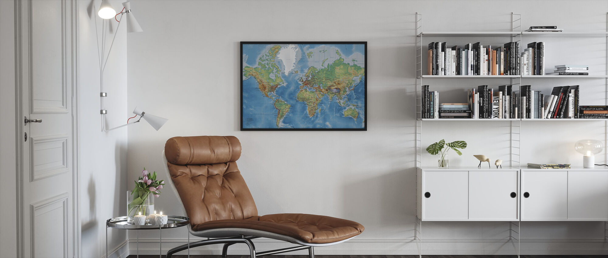 World Map - With Roads - Framed print - Living Room