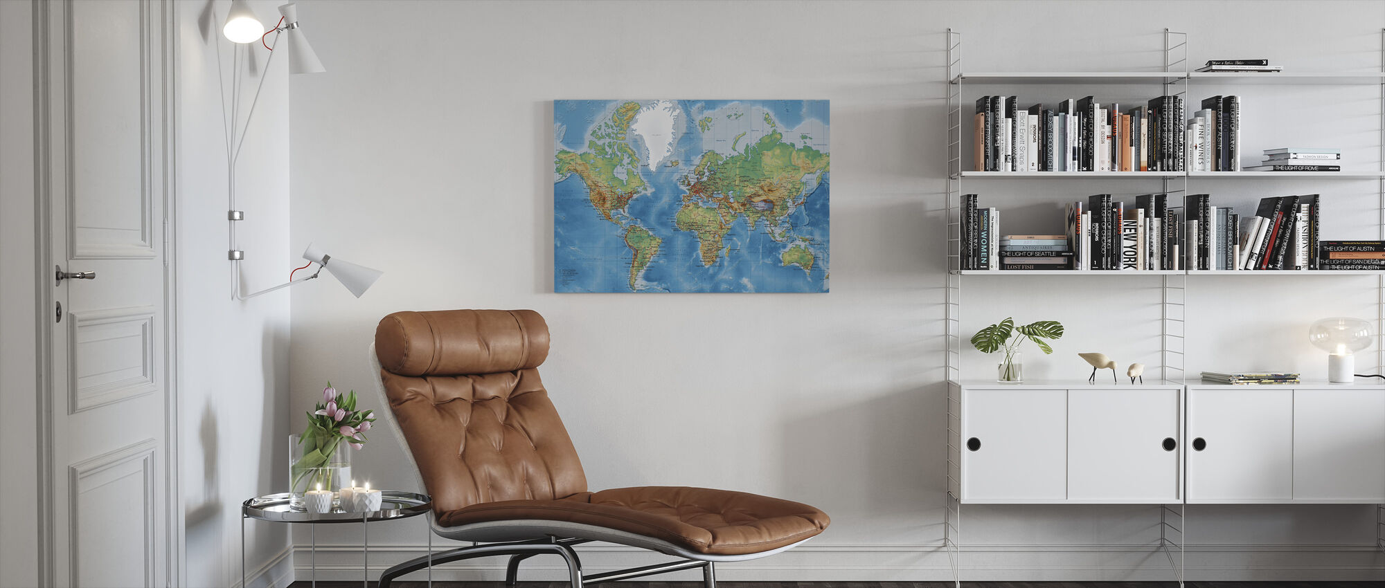 World Map - With Roads - Canvas print - Living Room